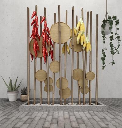 现代玉米辣椒竹竿屏风吊篮组合3D模型【ID:37192579】