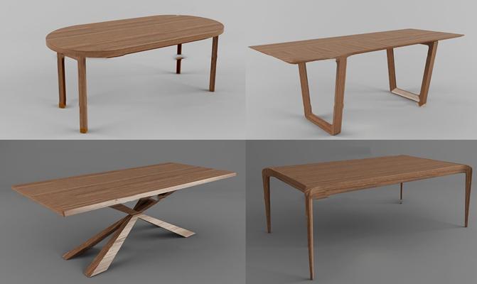 现代实木餐桌组合3D模型