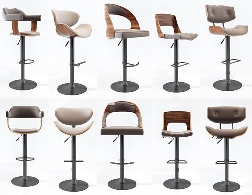 现代吧台椅组合3D模型【ID:37197714】