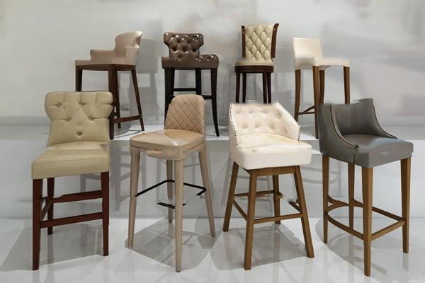 美式皮革吧台椅组合3D模型【ID:37198912】