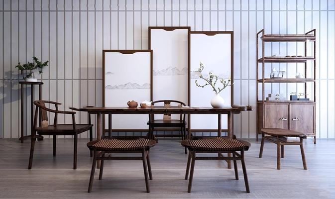 中式茶桌椅屏风装饰架组合3D模型【ID:37198967】