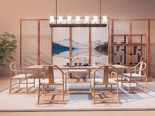 新中式泡茶桌椅博古架吊灯组合3d模型【ID:37199866】