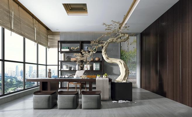 新中式茶室3D模型【ID:37200146】