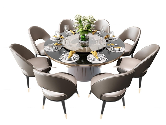 现代圆形餐桌椅餐具组合3D模型【ID:37201348】