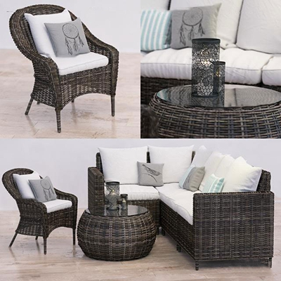 现代藤编户外沙发休闲椅组合3D模型【ID:37205731】