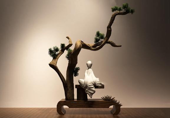 中式松树人物雕塑摆件3D模型【ID:37206285】