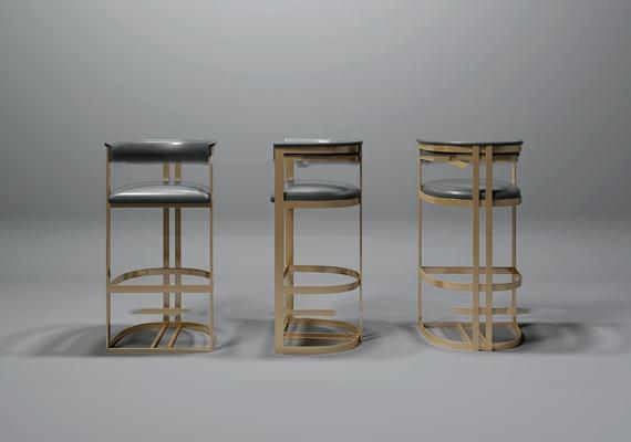 现代皮革吧椅组合3D模型【ID:37211918】