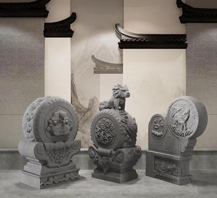 新中式抱鼓石雕塑组合3d模型【ID:37211983】