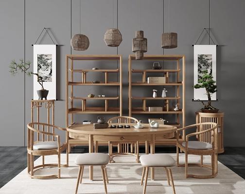 中式茶桌单椅装饰架组合3D模型【ID:37213062】
