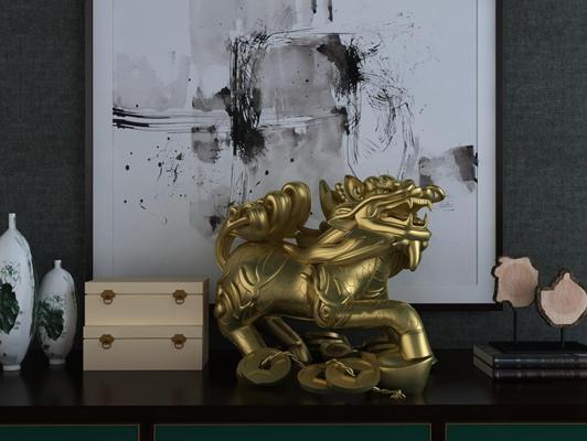 中式招财貔貅雕塑摆件3D模型【ID:37215080】