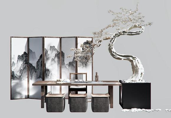 新中式桌椅树枝盆栽组合3d模型【ID:37216469】