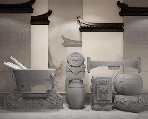 中式抱鼓石柱凳雕塑挂落组合3D模型【ID:37216780】