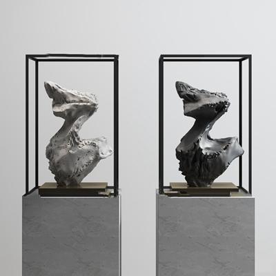 新中式石头雕塑摆件3D模型【ID:37216789】