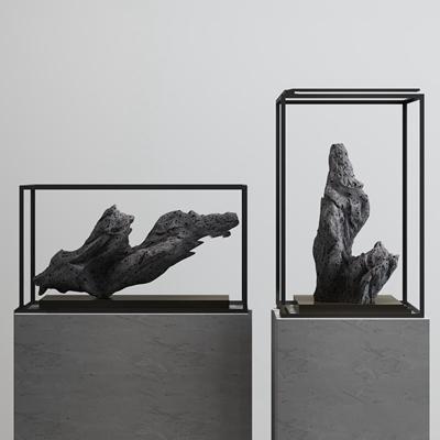 新中式石头雕塑摆件3d模型【ID:37216888】