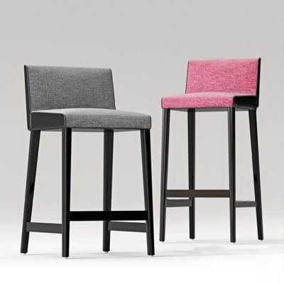 现代布艺吧椅组合3D模型【ID:37217513】