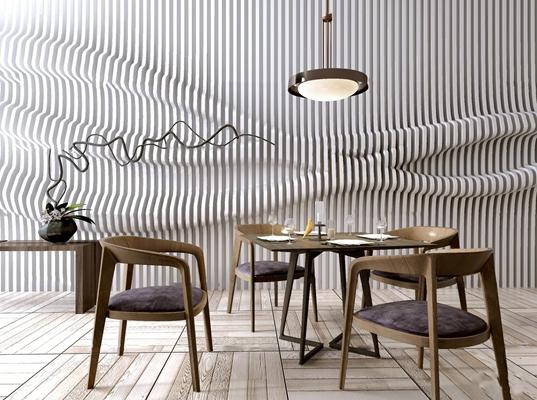 新中式实木餐桌椅吊灯组合3D模型【ID:37217649】