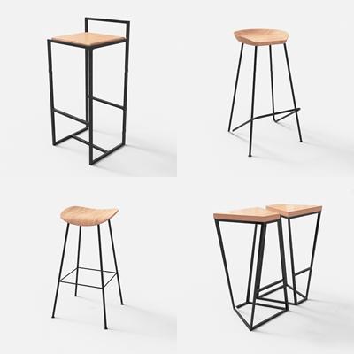 现代金属吧椅组合3D模型【ID:37219513】