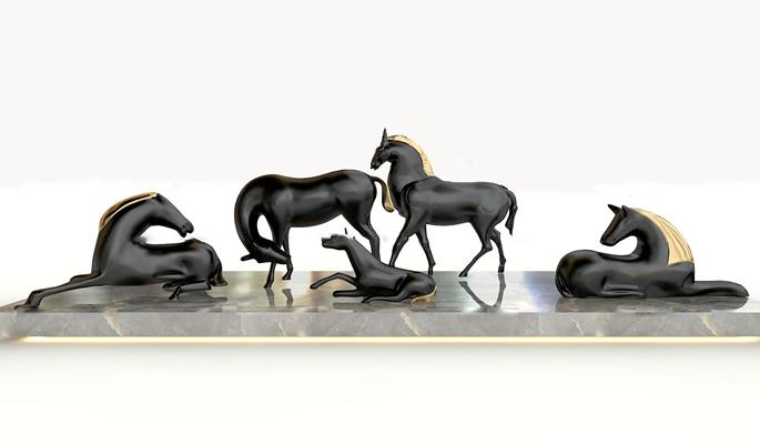 现代黑马雕塑组合3D模型【ID:37220385】