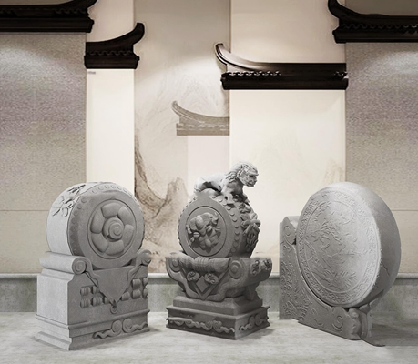 新中式抱鼓石雕塑组合3d模型【ID:37220581】