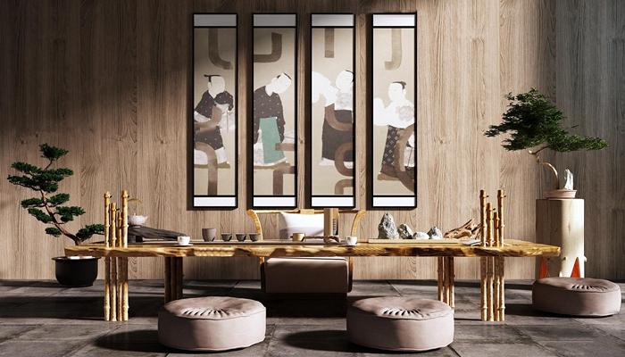 新中式茶室招待室3d模型【ID:37222041】