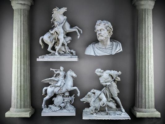 欧式人物雕塑组合3D模型【ID:37222386】