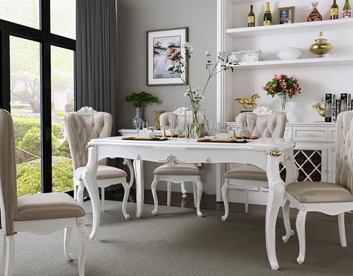 欧式餐桌椅餐具装饰柜摆件组合3D模型【ID:37224444】