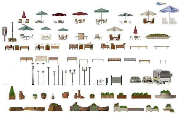 现代户外椅遮阳伞桌椅路灯盆栽组合3D模型【ID:37225138】