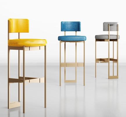 现代金属皮革吧椅组合3D模型【ID:37225212】