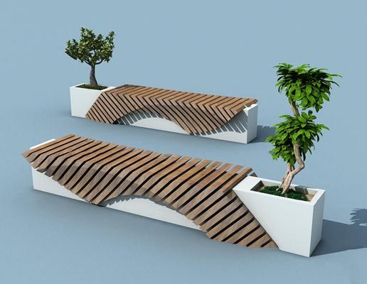 现代户外实木长椅组合3D模型【ID:37225435】