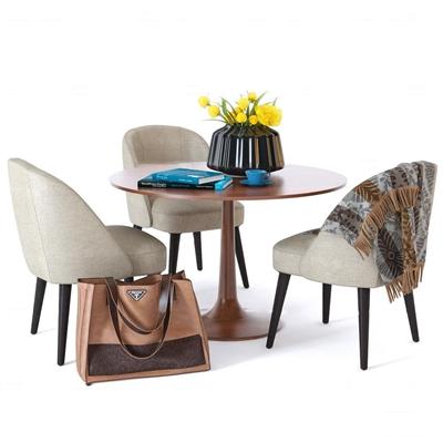 现代休闲桌椅皮包摆件组合3D模型【ID:37226666】