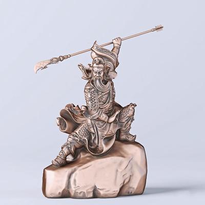 中式威武关公舞刀雕塑3D模型【ID:37226981】