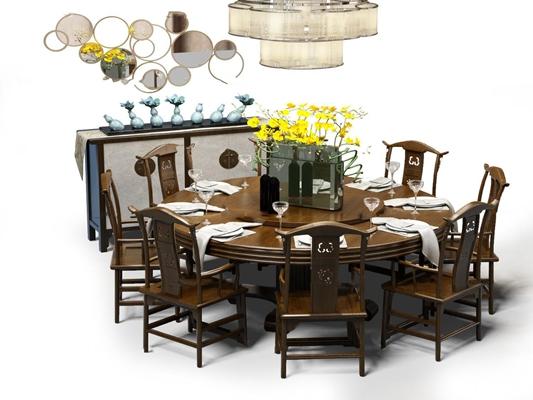 新中式实木餐桌椅边柜吊灯摆件组合3D模型【ID:37230146】