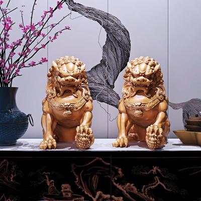 新中式古典狮子雕塑组合3D模型【ID:37230487】