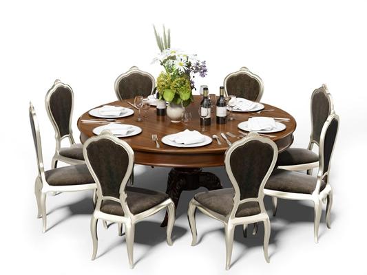 简欧餐桌椅餐具组合3D模型【ID:319681460】