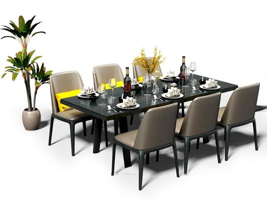 现代餐桌椅盆栽摆件组合3D模型【ID:37230849】
