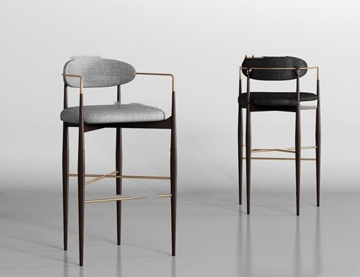 现代金属布艺吧椅组合3D模型