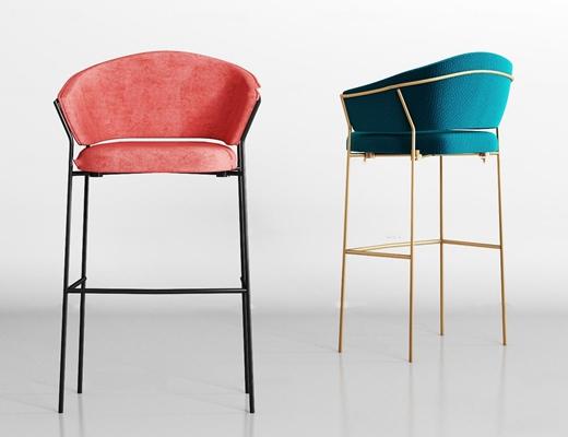 现代金属布艺吧椅组合3D模型【ID:37231118】