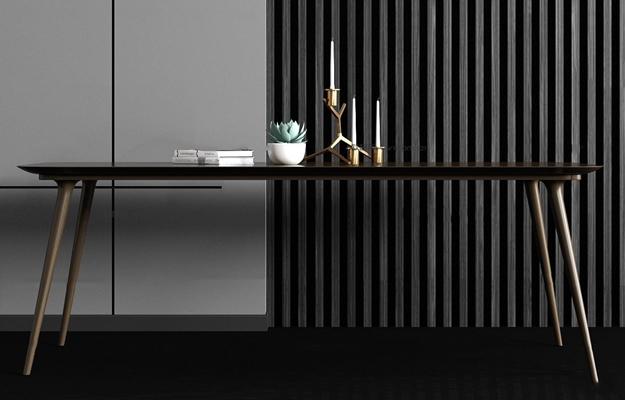 现代实木餐桌蜡烛饰品组合3D模型【ID:37231543】