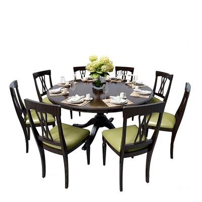 欧式实木餐桌椅餐具组合3D模型【ID:37231843】