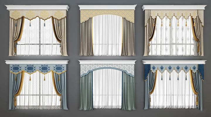 欧式窗帘窗纱组合3D模型【ID:37231889】