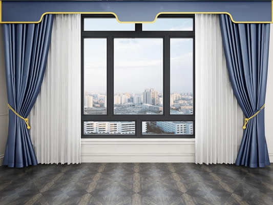現代窗戶窗簾窗紗3D模型【ID:37231989】