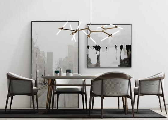 现代餐桌椅吊灯摆件组合3D模型【ID:37232648】