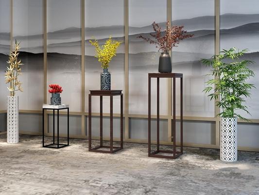 新中式角几花瓶花艺摆件盆栽组合3D模型【ID:37233288】