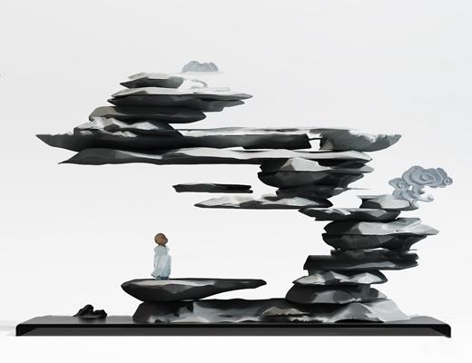 新中式石头雕塑摆件3D模型【ID:37233581】
