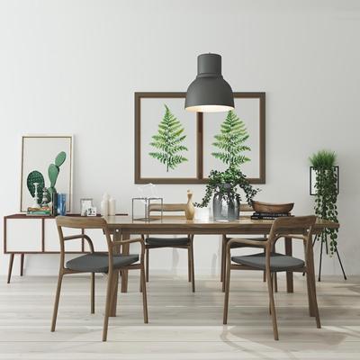 北欧实木餐桌椅边柜装饰画组合3D模型【ID:37235043】