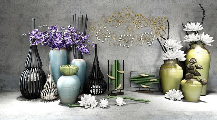 新中式花瓶插花摆件装饰品组合3D模型【ID:37235983】