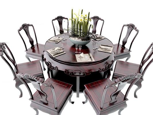 新中式实木餐桌椅餐具组合3D模型【ID:37237043】