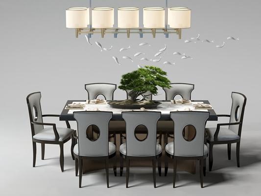 现代餐桌椅吊灯摆件组合3D模型【ID:319681433】