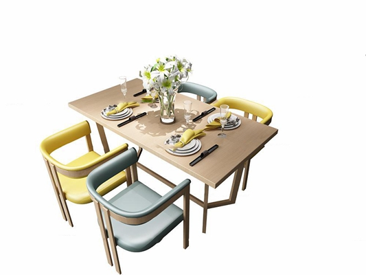 现代实木餐桌椅餐具组合3D模型【ID:37238643】