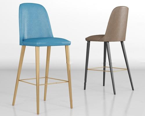 现代皮革吧椅组合3D模型【ID:37241710】
